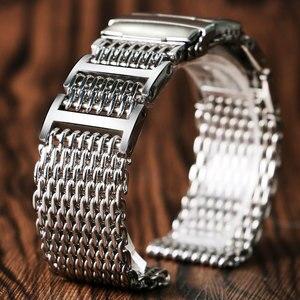 Image 1 - 20mm 22mm 24mm luksusowy pasek od zegarka z siatki rekina wymiana ze stali nierdzewnej składane zapięcie z bezpieczeństwa srebrny + 2 pręty sprężynowe