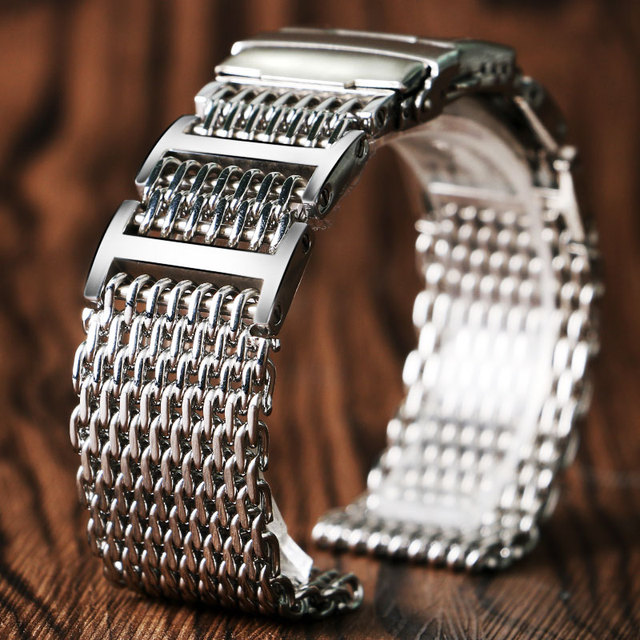 20mm 22mm 24mm luksusowy pasek od zegarka z siatki rekina wymiana ze stali nierdzewnej składane zapięcie z bezpieczeństwa srebrny + 2 pręty sprężynowe