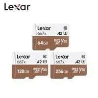 Lexar профессиональная карта памяти 667x SDXC UHS-I Micro SD карта с адаптером 64 Гб 128 ГБ 256 ГБ A2 U3 V30 C10 TF карта для 4 K видео