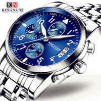 2019 montres hommes marque de luxe KINGNUOS hommes montres de sport étanche entièrement en acier Quartz montre pour hommes horloge (petit cadran décoration)