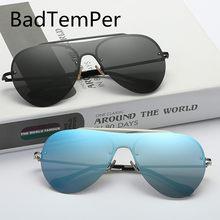 cd1ab594c7fb67 Badtemper NOUVEAU Hommes lunettes de soleil Polarisées Marque conception  Pilote style Métal lunettes de soleil sans monture femm.
