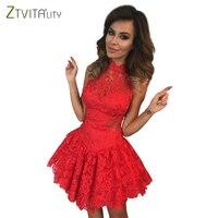 ZTVitality 뜨거운 판매 2017 레드 민소매 중공 패션 여성 섹시한 드레스 슬림 우아한 파티 드레스 여름 레이스 Vestidos