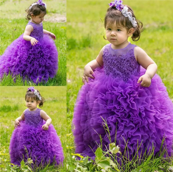 New Purple Flower Girl Dresses for Wedding Ball Gown Sleeveless Kids Toddler First Communion Dress Baby Girl Birthday Dress 2017 summer newborn formal dress purple sleeveless infant baptism ball gown dress clothes for toddler girl first birthday party