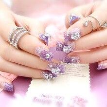 3D Diamante Romántico Púrpura Uñas Postizas de Acrílico Consejos de Uñas de Arte Glitter Estilo Suave de La Cubierta Completa de Uñas Decoración Del Arte