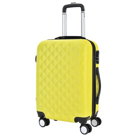 [Available from 10.11]Bright yellow PROFFI TRAVEL ph8857 yellow S, plastic suitcase with built-in scales,  with combination lock yellow duck led keychain with sound