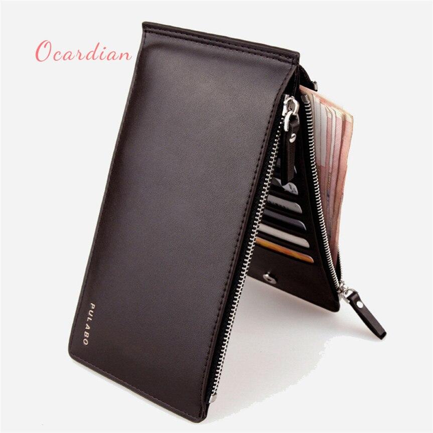 OCARDIAN monedero mujer Men Leather Card Cash Receipt Holder Ultra-Thin Zipper Wallet Purse Casual #30 2017 Gift