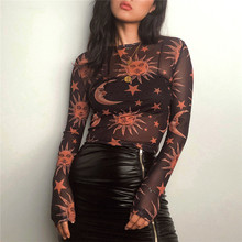 Sun Moon Printed Transparent Mesh Sexy T-Shirt Women O-Neck Long Sleeve Slim Basic Casual Female Tops 2019 Spring New