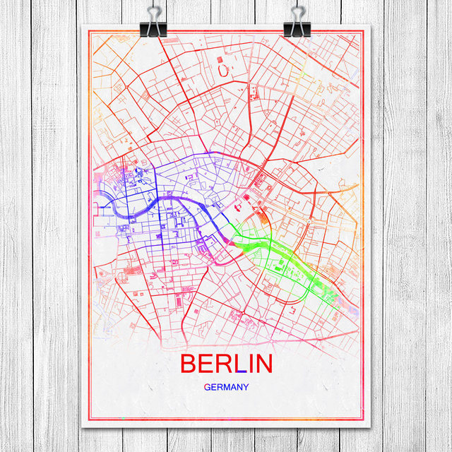 Berlin Germany World Map.Modern Colorful World City Map Berlin Germany Poster Abstract Coated