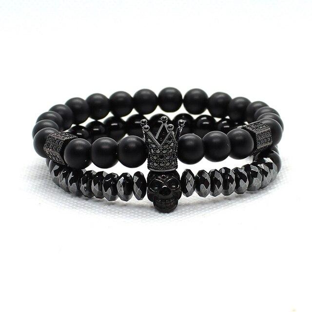 Bracelet Men Accessories Matte Oxyn Stone Beads Skull Erkek Bileklik Set Crown Jewelry Mens Bracelets For Women Pulseras Mujer 5
