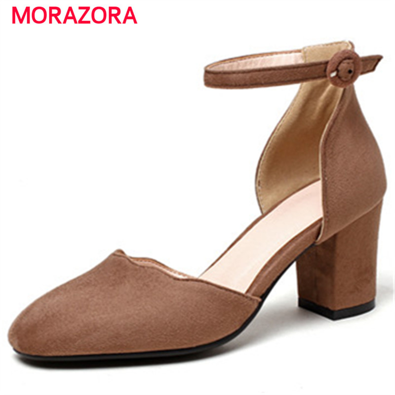 MORAZORA Party shoes wedding women pumps flock buckle solid fashion high heels shoes square toe summer shoes big size 34-43 fashion beige woman snow boots winter square heels round toe sexy pu winter shoes for lady high heels plus size 34 43