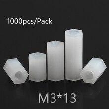 1000pcs M3*13 M3x13 Nylon Standoff Spacer PCB Female Column Flat Head Double Pass Nylon Plastic Thread Screws Hex Long Nuts