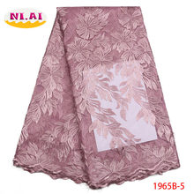 Newest African Lace Fabric, 3D Lace Fabric Onion Color High Quality Lace, Nigeria Lace Fabric For Aso Ebi MR1965B(China)