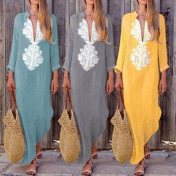 Women Boho Long Maxi Dress Summer Beach Evening Party Floral Long Sleeve Deep V Neck Vintage Print Sundress Dress vestidos 1