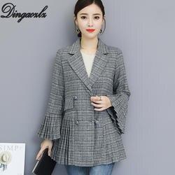 Dingaozlz 2018 осенью новый Для женщин блейзер корейской моды плиссе с расклешенными рукавами костюм пиджак Офис Леди Блейзер Пальто