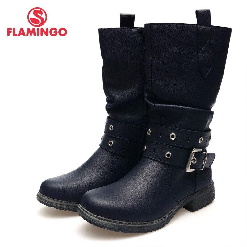 Фламинго высокого качества Модные осенне-зимние кожаные детская обувь для девочек новинка 2015 Коллекция анти-ботинки без застежки 52-cc323