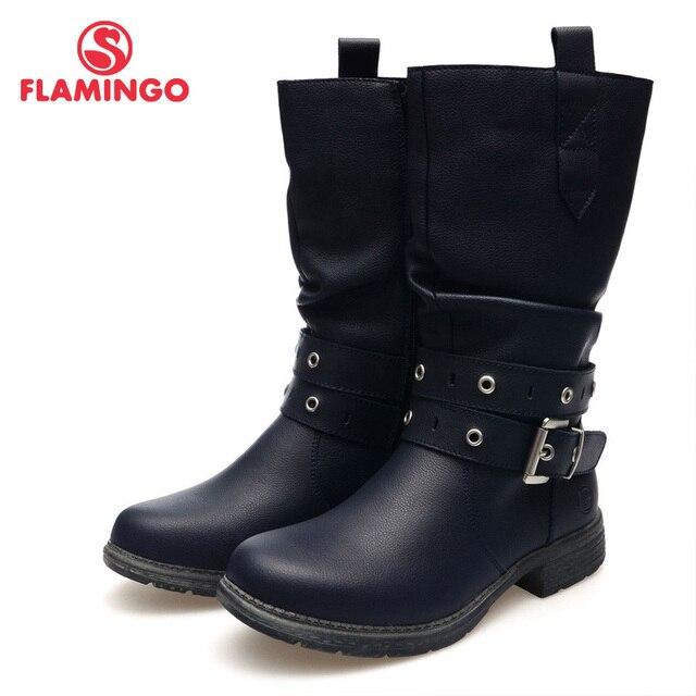 2015 г. модная осенне-зимняя кожаная детская обувь для девочек с изображением фламинго, новая коллекция, Нескользящие ботинки, 52-CC323