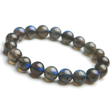 Genuine Natural Blue Light Labradorite Crystal Round Beads Bracelet Women Necklace 10mm Grey Moonstone Stone AAAAA