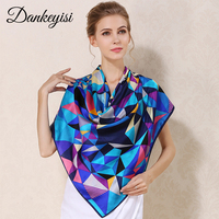 DANKEYISI 100% Mulberry Silk Scarf Women Square Big Pashmina Neck Women Scarf Female Oversized Print Silk Handkerchief Bandanna
