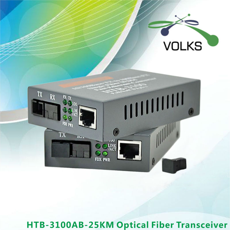 HTB-3100AB Optical Fiber Ethernet Media Converter Single Fiber Converter 25km SC 10/100M 1 Pair
