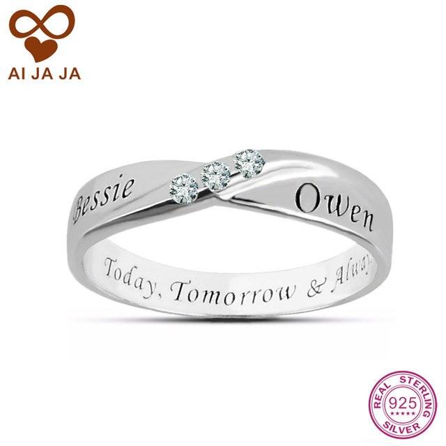 7e5b476bda19 Anillos de plata esterlina 3 CZ diamantes personalizados nombre personalizado  anillos grabados amigos amor infinito boda