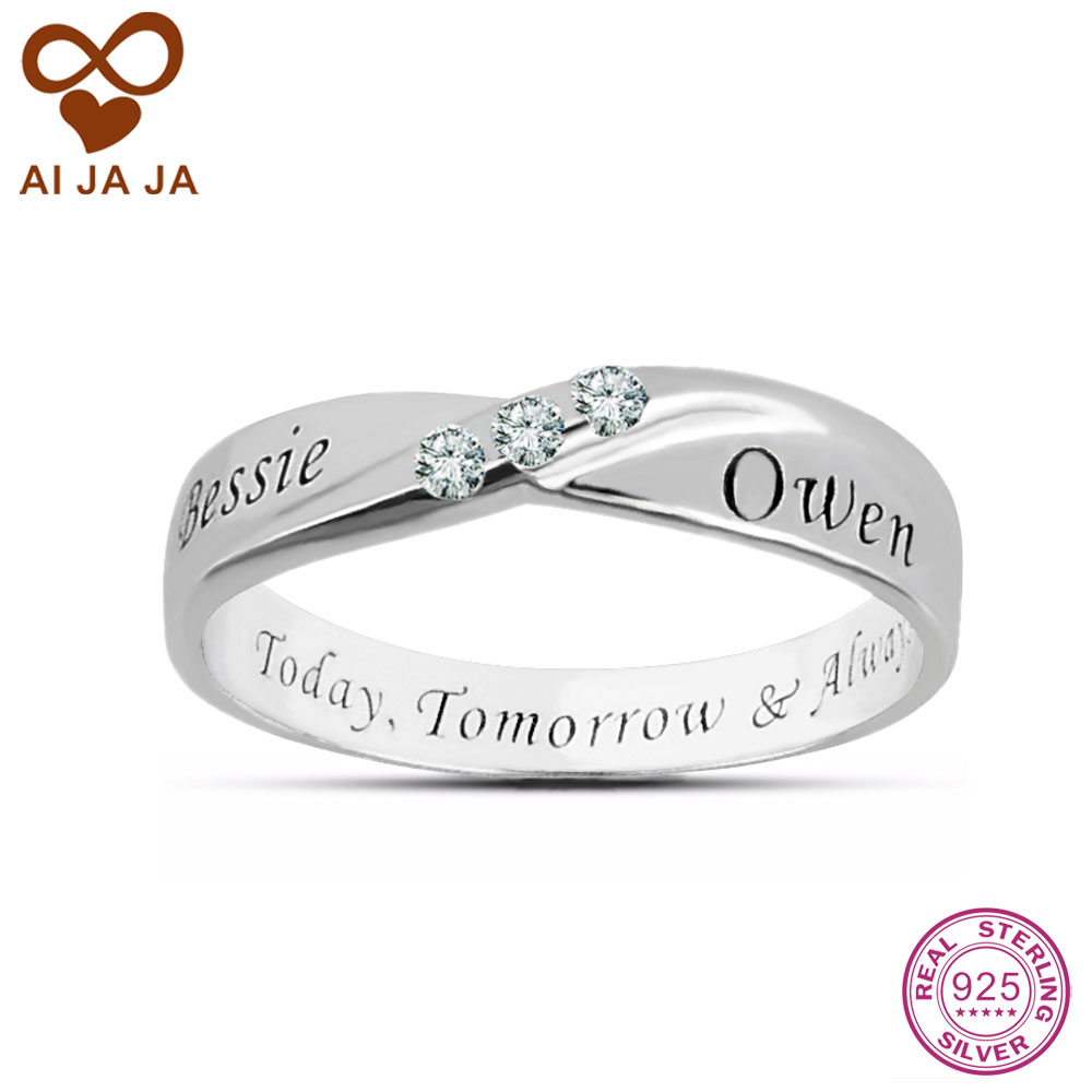 personalized wedding rings sterling sliver 3 cz diamonds custom name rings 6493