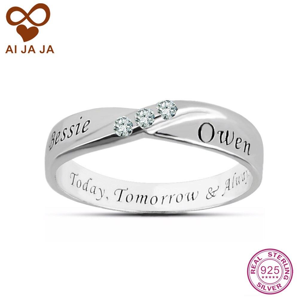 sterling sliver 3 cz diamonds custom name rings personalized engraved rings friends infinite. Black Bedroom Furniture Sets. Home Design Ideas