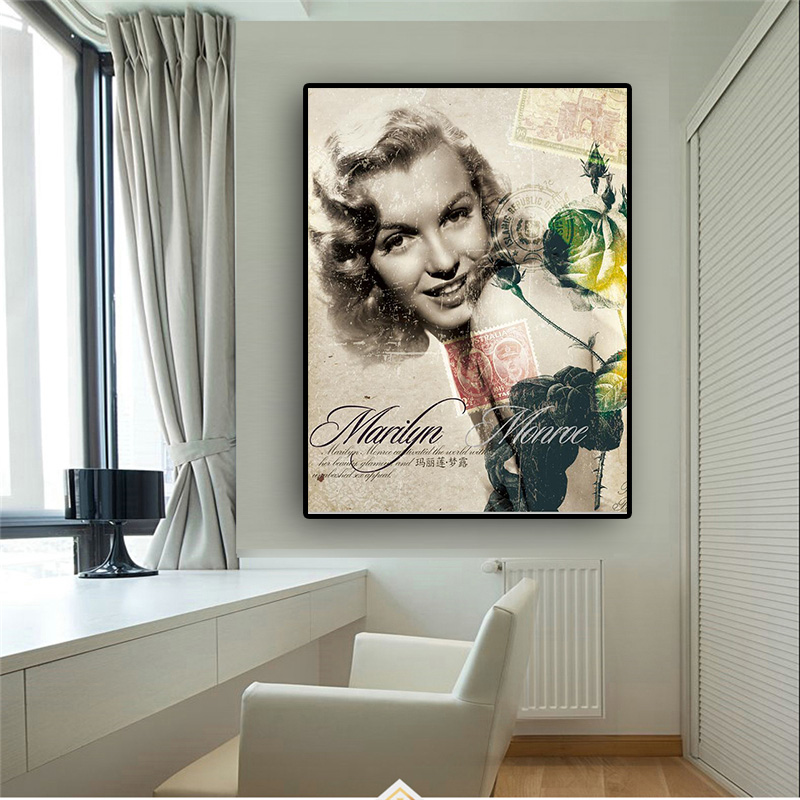 Home Decor Wall Artwork Modular Pictures Canvas Painting Marilyn Monroe Movie Actress Nordic Prints Style Poster For Living Room image