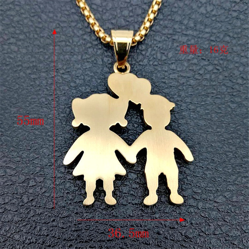 Image 2 - Gold Color Lovers Couple Pendant Necklaces Fashion 2018 Boys Girls Couple Necklaces Jewelry For Women Stainless Steel ChainPendant Necklaces   -