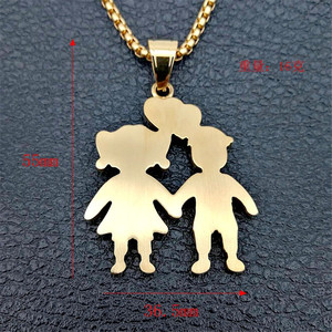 Image 2 - Gold Color Lovers Couple Pendant Necklaces Fashion 2020 Boys Girls Couple Necklaces Jewelry For Women Stainless Steel Chain
