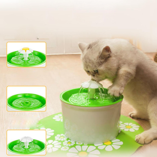 Flower Sytle Automatic Electric 1.6 L Pet Water Fountain Dog/Cat Drinking  Bowl With Corner