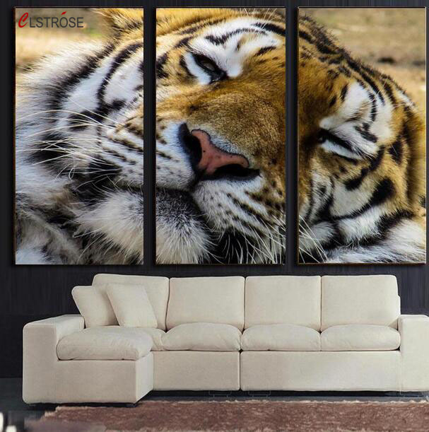 CLSTROSE Cuadros New Fashion Home Decals Printing Sleeping Tiger Paintings Living  Room 3 Pieces In One Set Pictures