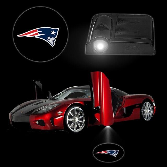 2PCS/Set Car Led Light NEW ENGLAND PATRIOTS Wireless Car Door Lamps Battery  Luminaria Laser