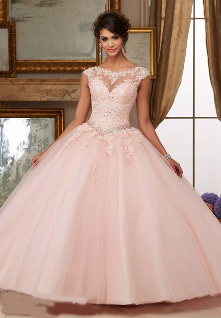 2016 Ball Gown Coral Quinceanera Dresses Sweetheart Beads Crystals