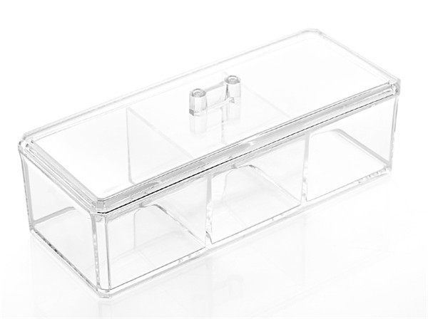 High Quality 3 Big grid Makeup Organizer Cosmetic Clear Case Display Box Jewelry Storage Holder
