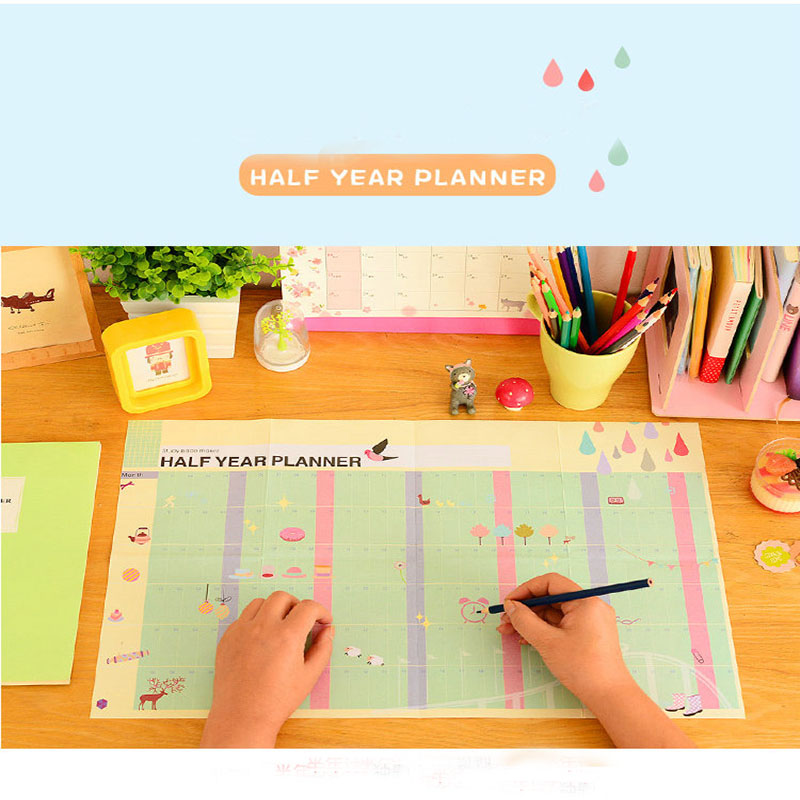 Kawaii Cartoon Half Year Planner Study Work Living Maker 6 Months Each Day Plan List School Office Staionery Goals Aim Calendar plan