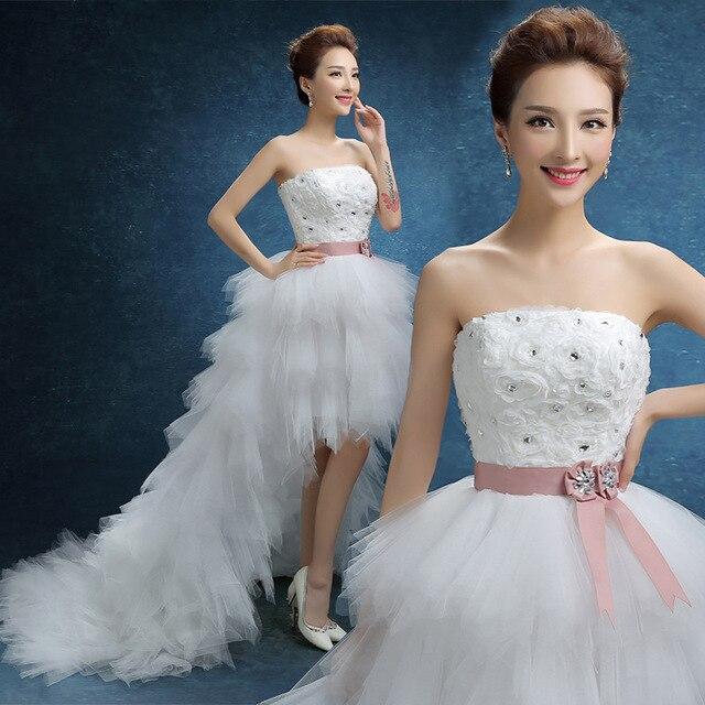 2015 новый тонкий верхнюю часть пробки платье до и после короткий длинный хвост Бабочка марли свадебное платье короткий передний долго назад