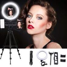 Кольцевой светодиодный светильник 26 см для видеосъемки Youtube, штатив для фото и видеосъемки с держателем для телефона