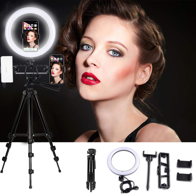 Lampa wideo 26 CM lampa pierścieniowa lampa pierścieniowa led na Youtube sesja zdjęciowa statyw do aparatu fotograficznego Studio z uchwytem na telefon
