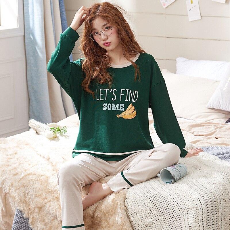 Pajamas Set Women Girls Cotton Long Sleeve T-shirt Pants Set Pijamas Female Spring Autumn Sleepwear Nightgown Pijama Femme M-3XL 51