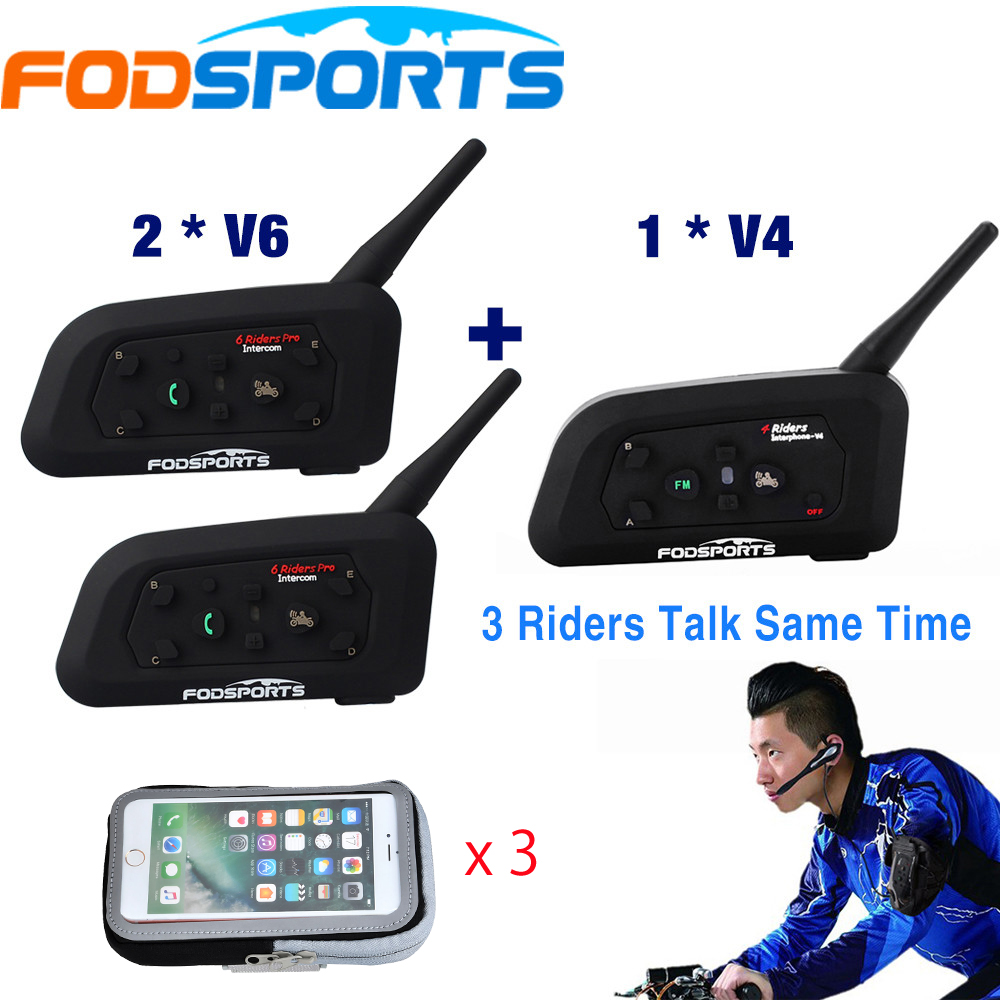 Fodsports 1*V4+2*V6 1200M Intercom For 3 Football Referees Coach Headset Judger Arbitration 3 Referees Wireless Headset