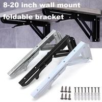 2pcs Triangular Folding Brackets 14 inch Metal Support Adjustable Wall Mounted Durable Bearing Shelf Bracket Heavy Support