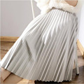 2017 Women's Elegant High Waist A-Line Midi Skirt Autumn Ladies Girls Vintage Elastic Waist Pleated Polyester Suede Skirts Saias