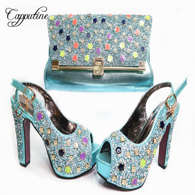 Light bleu Et New Hot Haute Strass Blue Capputine Femmes Assortir G35 fuchsia Vente Royal Talons Chaussures Or African Set Sacs Pour À rouge or Parties Sac SCYxHfwx