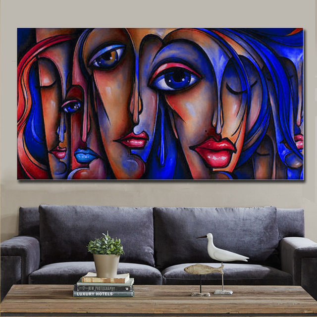 Hot Sale Large Wall Art Canvas Hand Painted Oil Painting People Sex Girl  Big Eye Pop Modern Home Decor By Professional Artist