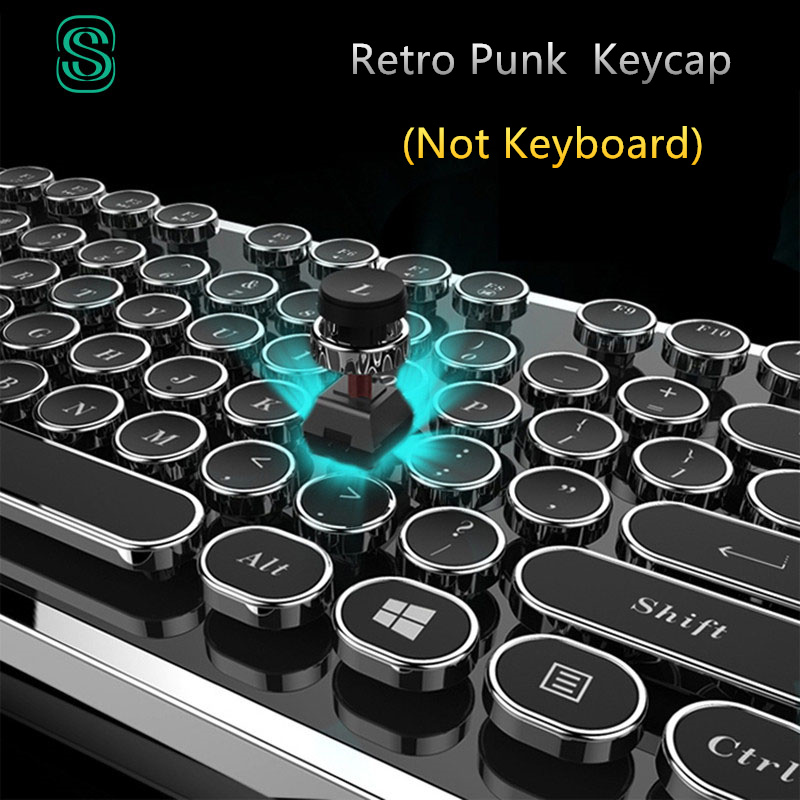 DIY schlüssel cap Retro steam punk schreibmaschine mechanische tastatur keycap 104 87 standardtasten für gaming gamer tastatur key cap