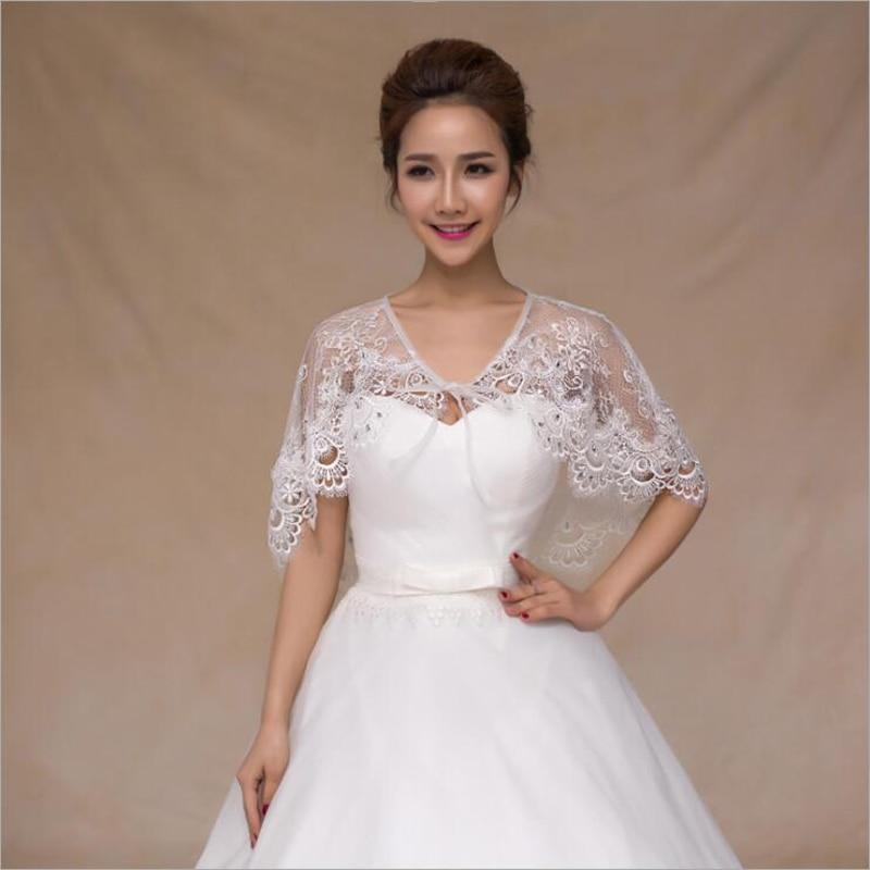 Spring Summer Cheap Ivory Lace Bridal Boleros Crystal