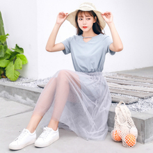EAD Summer Casual Short Sleeve Dress Women Chic Transparent Mesh Splice Sundress High Waist O Neck Solid Vestido Female Robe