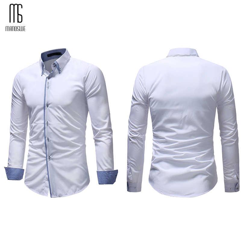 Manoswe Модная рубашка с длинными рукавами Мужская рубашка с отложным воротником черная рубашка Топы 2019 Повседневная тонкая Деловая одежда больших размеров Camisa
