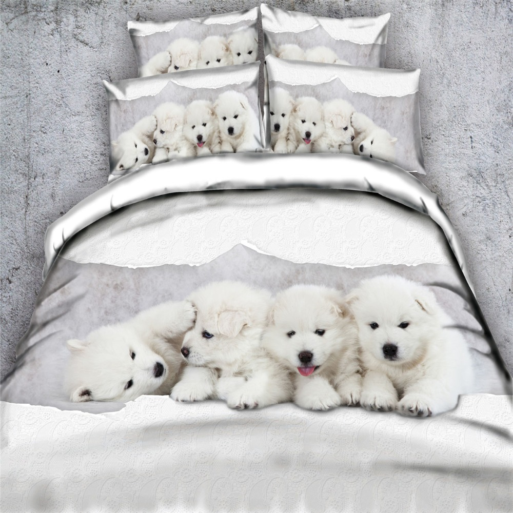 Cute 3d White Pet Dog Bedding Sets 3 4pc Bedspreads King