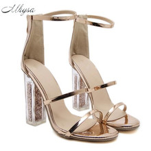 Mhysa 2018 Latest Women Open Toe Strappy Ankle Strap Gold Sandals Crystal Transparent Clear Block Thick High Heel Sequined Shoes